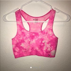 Pink and White Tie Dye Athletic Sports Bra